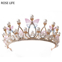 ROSE LIFE New butterfly bride crown elegant princess crown accessories crystal bride wedding hair accessories