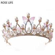 ROSE LIFE Ny sommerfugl brude krone elegant prinsesse krone tilbehør krystal brude bryllup hår tilbehør