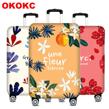 Camellia Elastic Luggage Protective Cover For 19-32 inch Trolley Suitcase Protect Dust Bag Case Travel Accessories pvc suitcase bag protective covers transparent rain dust luggage travel accessories wear resistant bag protect parts sleeve case