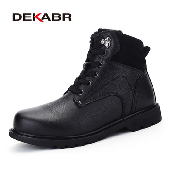 DEKABR Brand Genuine Leather Winter Warm Fur Vintage Motorcycle Boots Male Riding Shoes Men Snow Ankle High Top Men's Boots