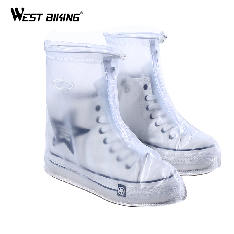 WEST BIKING PVC Waterproof Shoe Covers Bicycle Reusable Anti-slip Rain Boot Motorcycle Bike Cycling Protective Overshoes