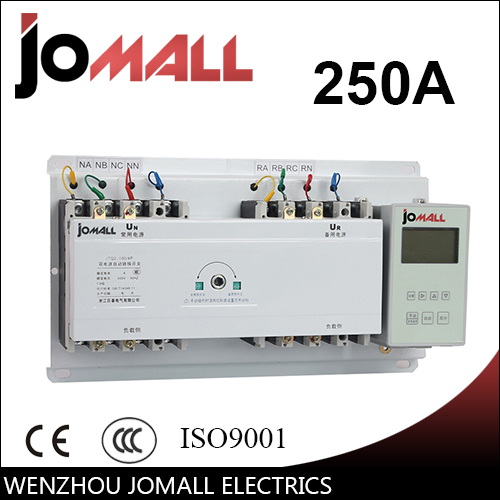 250A 4 poles 3 phase automatic transfer switch ats with English controller цена