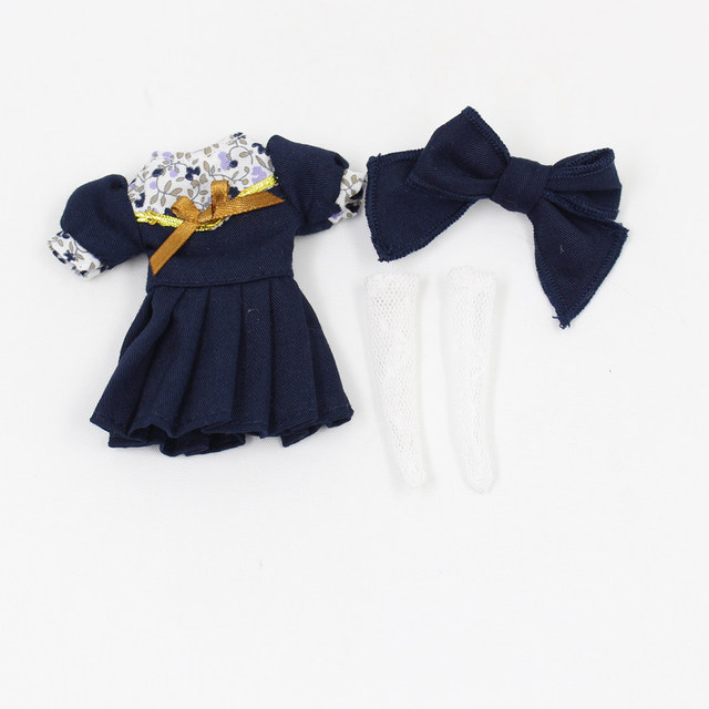 Blyth Accessiories suitable only for 1/8 Middle Doll Red and Dark Blue Dress with Hairpin and Stockings Free Shipping