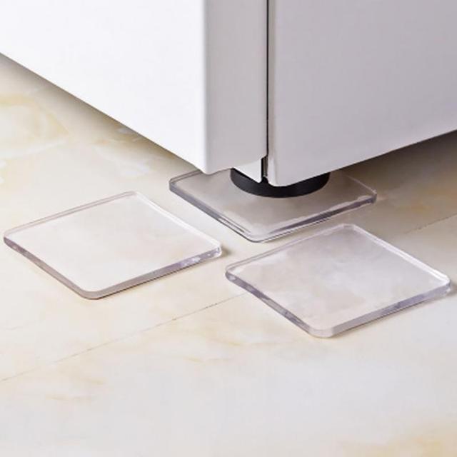 4pcs Set Transpa Washing Machine Silicone Pad Portable Anti Vibration Non Slip Mat Shock