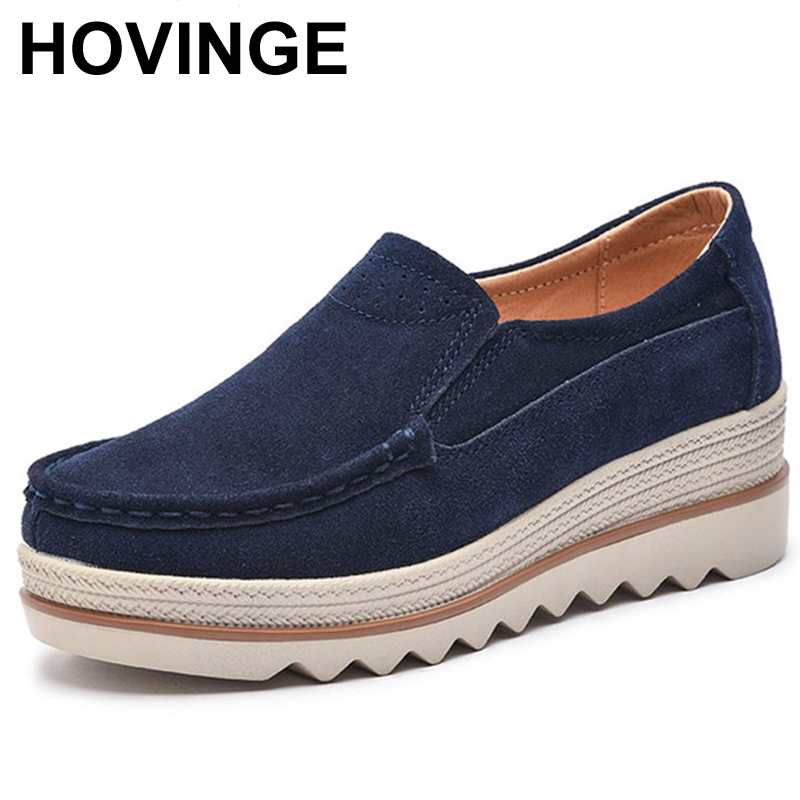 a3b86a1a877 HOVINGE New Spring Autumn Moccasin Women Flats Shoes Genuine leather Shoes  Lady Loafers Slip On casual Platform Woman Moccasins