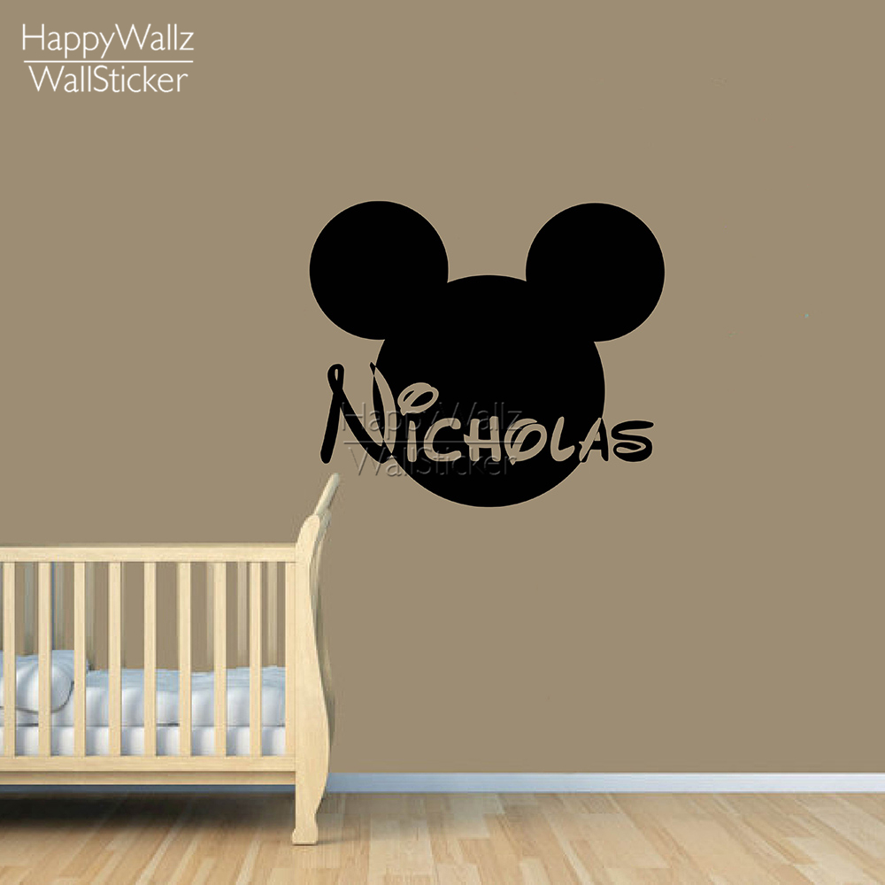 Lovely Mouse Wall Sticker Custom Name Wall Decal DIY Children Name Wall Decor Kids Baby Nursery Removable Wall Decoration 527C