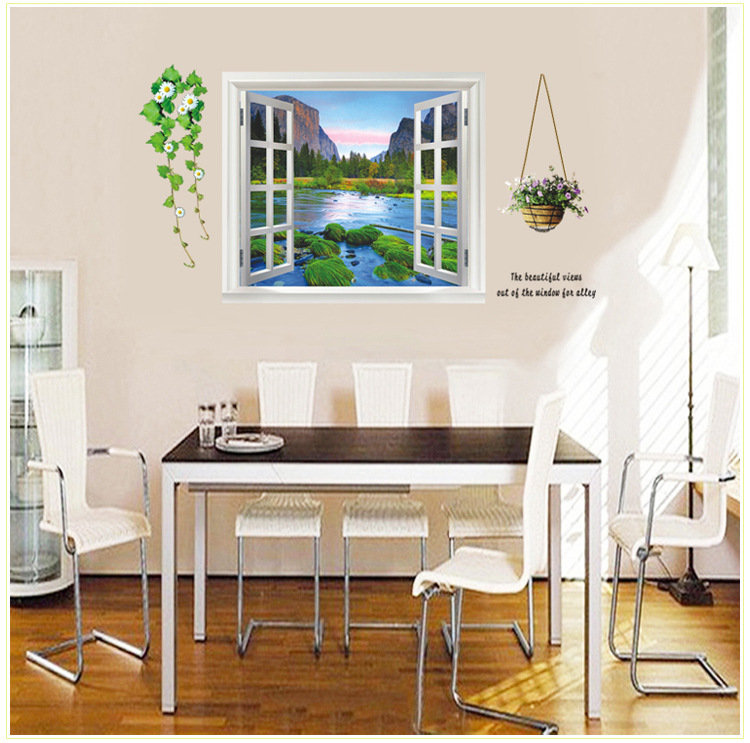 AY893 Scenery False Window Wall Stickers Mountain Water & Tree-Lined Trail 3D Vinyl Decals Living Room Decoration Murals