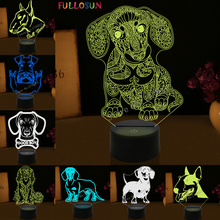 Creative Kids Baby Gift 3D Illuison Pet Dog Lamp Bull Terrier LED Night Light Decorative Table