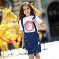 2016 Топ Моды Специальное Предложение Большие Девочки Платья Комбинезоны Жан Отверстие детская Детская Одежда Хлопок Платья Для Девочек 5-18y