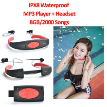 цена на IPX8 Waterproof MP3 Music Player 8GB/2000 Songs Underwater Neckband Headset Stereo with FM Radio for Swimming Diving Surfing Gym