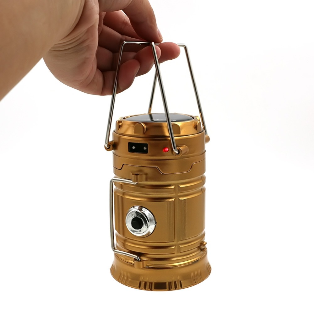 Portable Lanterns Solar Camping Light Rechargeable Built-in Lithium Battery Hand Lamp Outdoor Camping Lantern Tent Lights