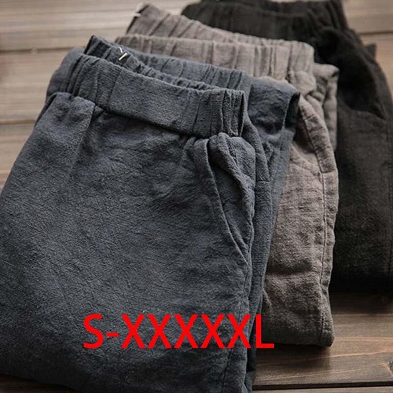 Harem Pants Linen Big Size Vintage Trousers Women Streetwear Korean Style Pockets Loose Pants Plus Size 5XL 3 Colors