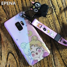 Cute Sailor Moon Back Case For Samsung S9 S10 Plus Soft Back Cover + Luna Cat Toy+Strap For Samsung S8 S8plus Note8 Note9 S7edge(China)