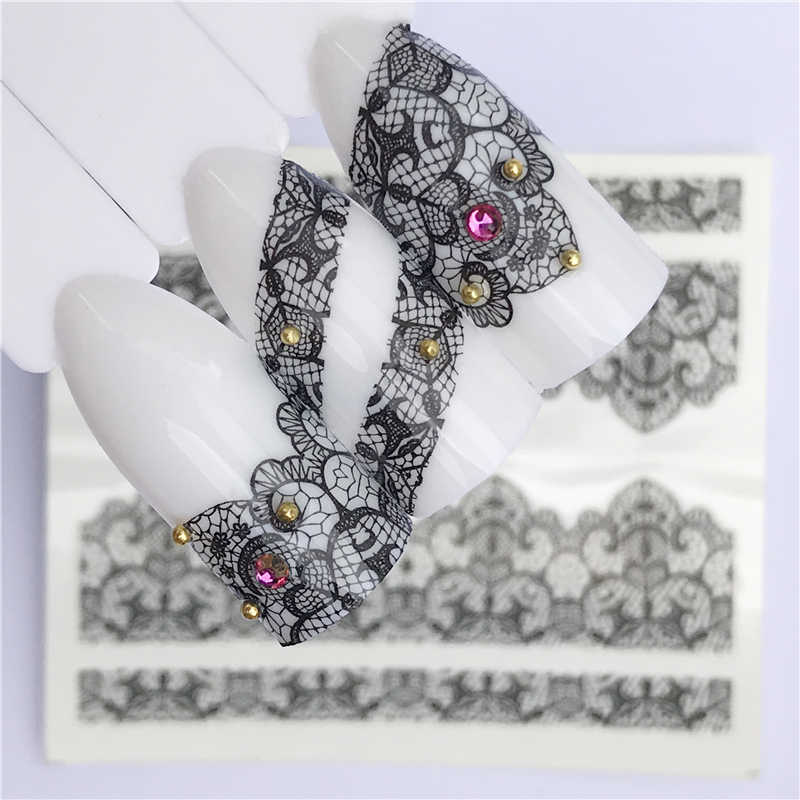 1 Sheet Black Nail Stickers Water Transfer Decals Lace Flowers Butterfly Slider for Nail Art Decoration Manicure