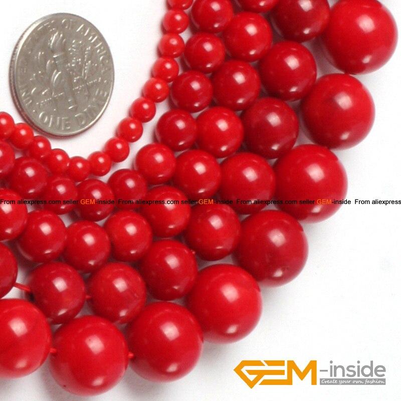 41e707ebb1dc6 Mücevher-içinde Yuvarlak Kırmızı Mercan Boncuk Doğal Beyaz Mercan Boncuk  Takı Yapımı Için Dayed Renk DIY Gevşek Boncuk Strand 15 inç!