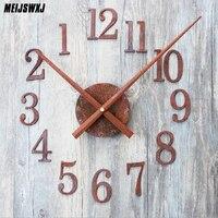 DIY Retro Clock Saat Wall Clock Reloj Duvar Saati Digital Wall Clocks Horloge Murale Self Adhesive Watch Reverse Pointer Decor