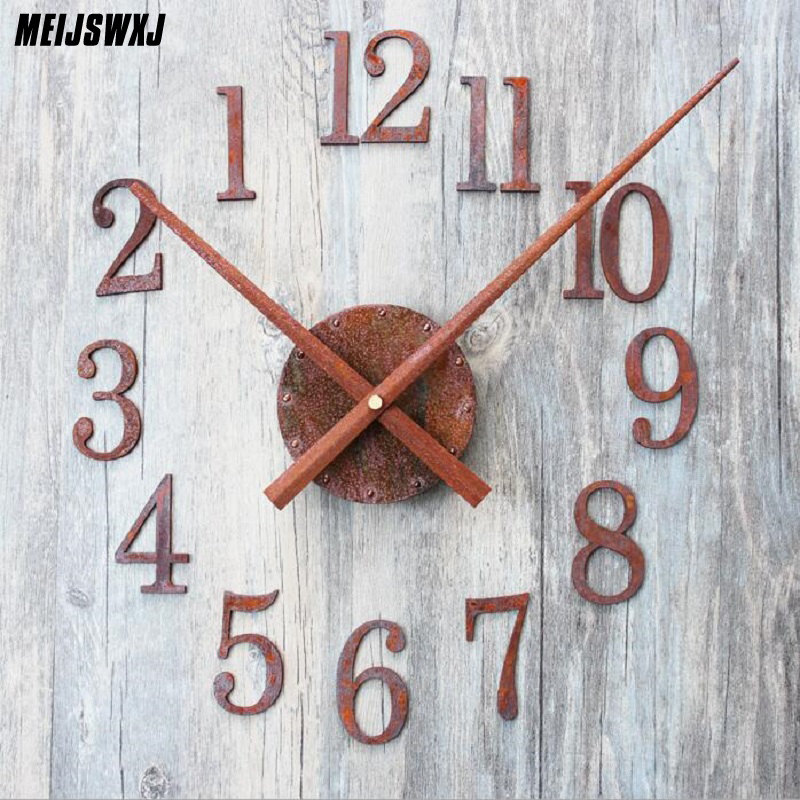 DIY Retro Clock Saat Wall Clock Reloj Duvar Saati Digital Wall Clocks Horloge Murale Self Adhesive Watch Reverse Pointer Decor