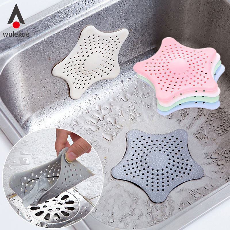 Wulekue Kitchen Gadgets Accessories Star Outfall Drain Cover Basin Sink Strainer Filter Shower Hair Catcher Stopper Plug(China)