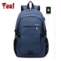 Men S Backpack Canvas External USB Charging Laptop Backpacks School Backpack Anti Theft Bags For Men