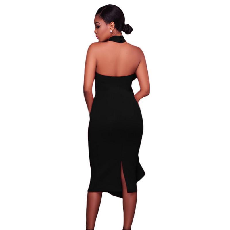 ADEWEL 2017 Women Big Ruffles Midi Elegant Dress Sexy Open Back Bodycon Party Dress High Neck Vintage Pencil Dress 18
