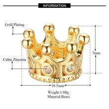 Crown copper microinsert accessory Crown single hole pendant necklace DIY Charm 3pcs/lot 7*10.5mm SLCA201