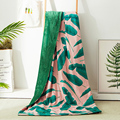 Luxuly Plantain Blanket Cotton Fabric Blanket 200*230cm Bed Spread Quilt Green Throw Summer Tropical Blanket Queen for Bed