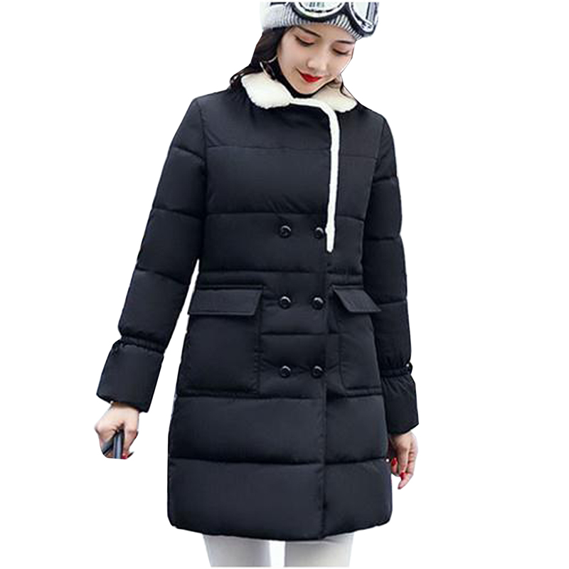 New 2017 Winter Coat Women Slim Plus Size Outwear Medium-Long Wadded Jacket Thick Cotton Fleece Warm Cotton Parkas 4L01 msfilia new winter coat warm slim women jackets cotton padded medium long thick hooded parkas casual wadded fleece outwear