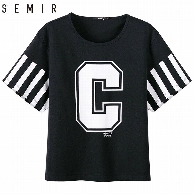 SEMIR a maniche corte T-Shirt fresco nuovo cotone di stile di modo esercizio Allentato sottile per le donne nero grigio tshirt per la femmina custome