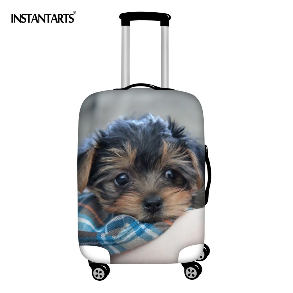 INSTANTARTS Cute 3D Dog Norwich Terrier Prints Luggage Covers Apply To 18-30 Inch Zipper Spandex Elastic Trolley Suitcase Cover