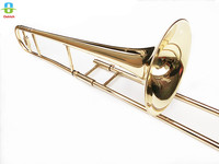 Brand New Bb Tenor Trombone Brass Gold Lacquer Bb Tone B flat Wind Instrument with Cupronickel Mouthpiece Cleaning Stick Case