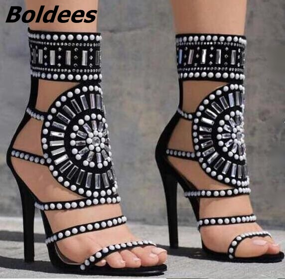 ew Arrivals 2017 Summer White Rivets Studded High Heel Sandal for Women Cut-out Crystal Embellished Gladiator Sandals Sexy Shoes