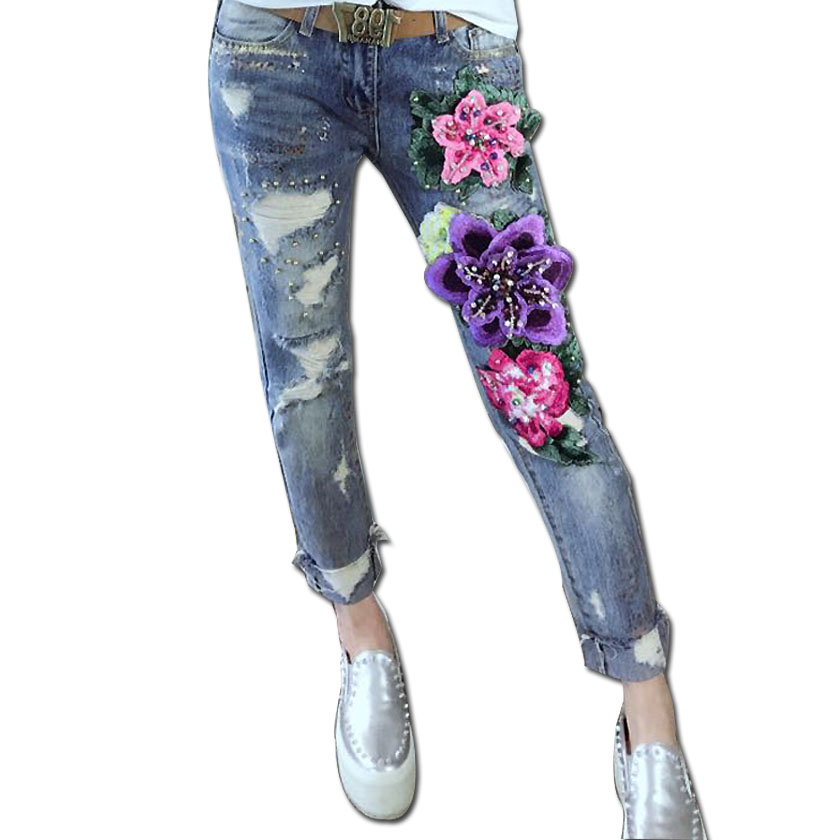 все цены на Printed Hot Spring European Gold Sequined Slim Stretch Feet Flower Embroidery Ripped Pearl Stitch Female  Oil Painting Jeans онлайн