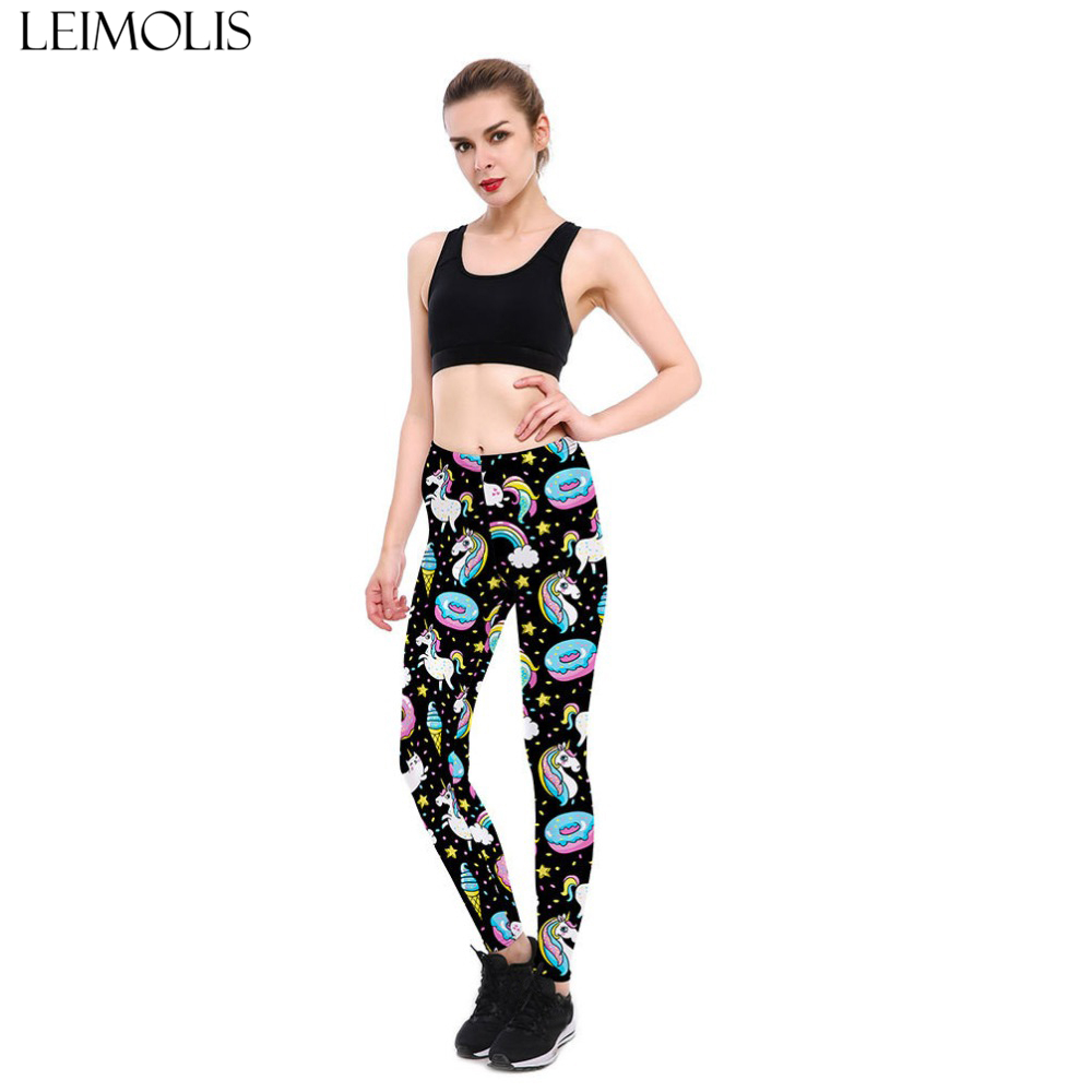 LADIES 3 D RAINBOW UNICORN PRINTED GOTHIC PLUS SIZE HIGH WAIST SPORT LEGGINGS