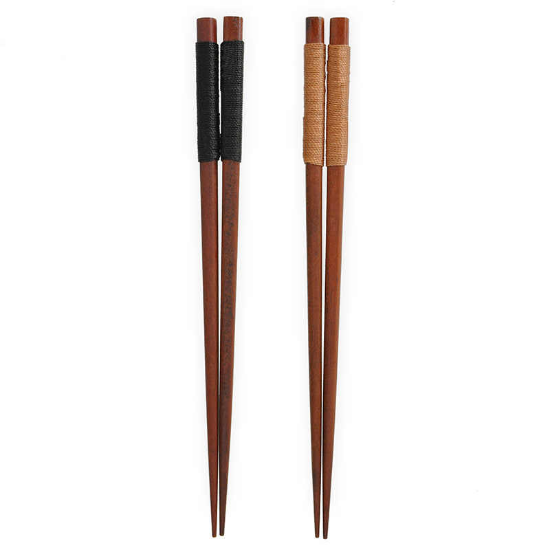 Japanese Embroidery Threads Design Chopsticks Natural Wood Non-slip 22.5cm Tableware Kitchen Tools Christmas Gift 2pairs/set