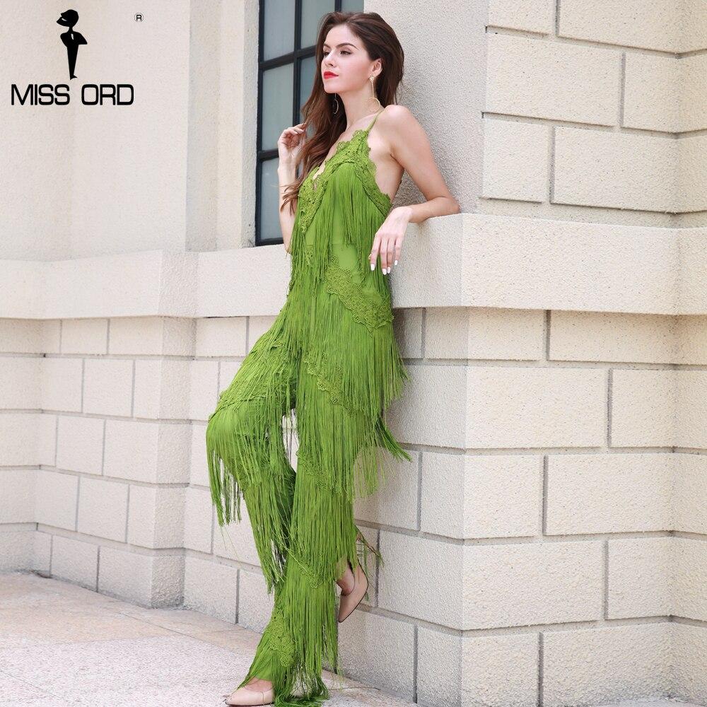 MISSORD 2018 Sexy sleeveless V-NECK halter lace tassel jumpsuit FT4661-4