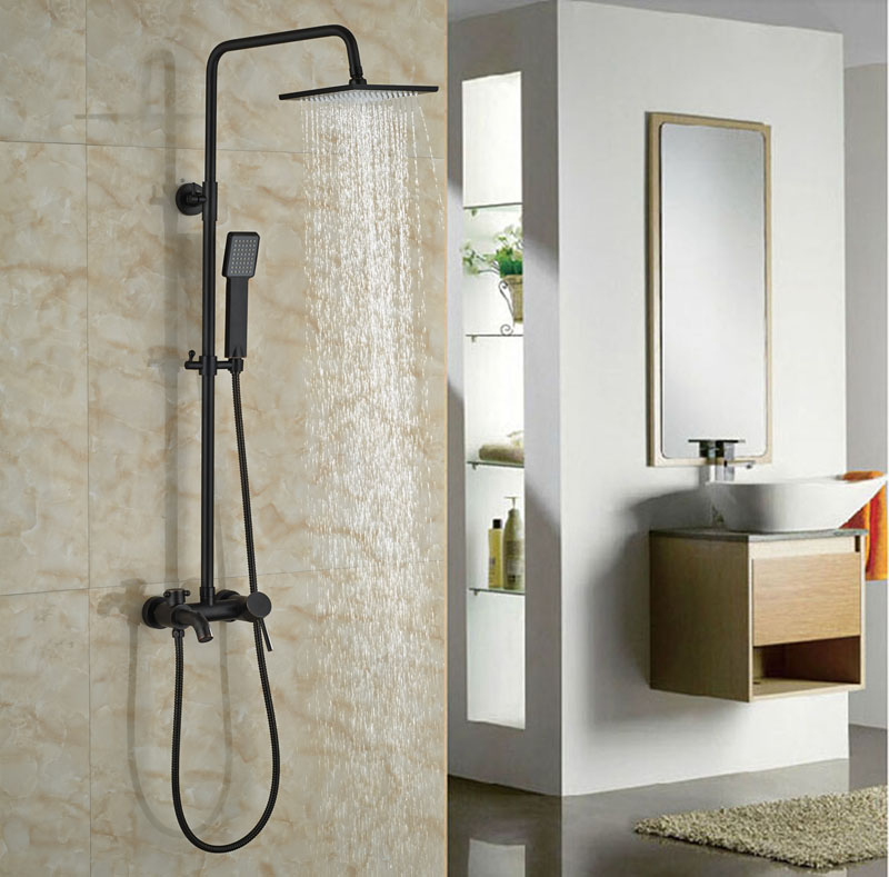 Wall Mounted Oil Rubbed Bronze Shower Faucet Bathroom 8-in Rainfall Shower Set W/Hand Shower