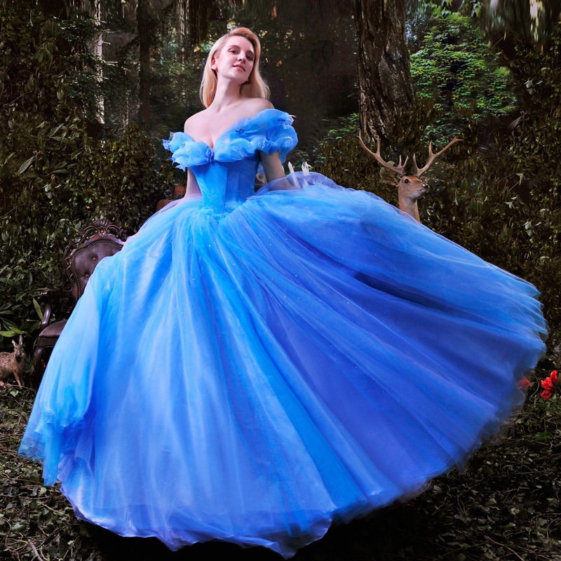 New Movie Cinderella Princess Dress Gorgeous Costume Cosplay Halloween Costumes For Women With Wig Free Shipping