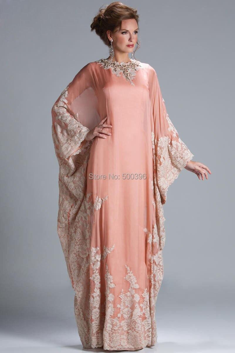 2015 New Women Formal Gown Arrival Dubai Caftan Coral Color Applique