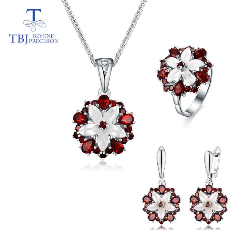 TBJ new design Anchor Natural Mop Garnet gemstone special solid pendant ring earrings set 925 sterling