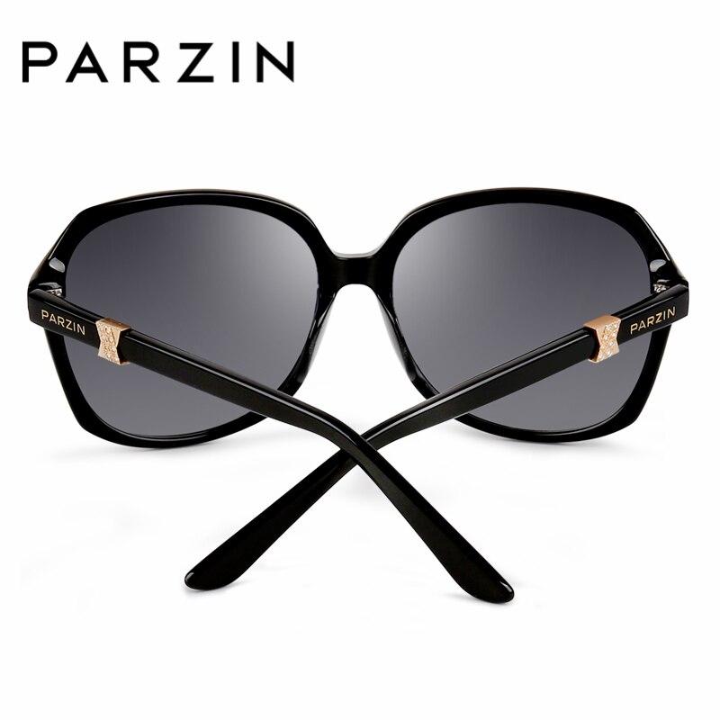 Parzin schwarzes Kristall Black Marke Luxus Polarisierte Rahmen Kunststoff brown Elegante So Frame Große Brillen 9629 Real Sonnenbrille White Frauen rrTpWnA