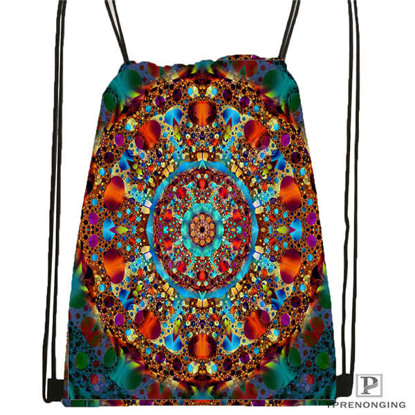 Custom Mandala-Buddhist-@3 Drawstring Backpack Bag For Man Woman Cute Daypack Kids Satchel (Black Back) 31x40cm#20180611-03-144