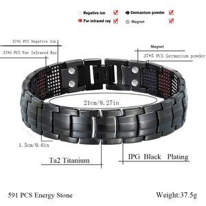 Image 2 - LITTLE FROG 591PCS Germanium Black Titanium Bracelet&Bangle Health Magnetic Bracelet  Mens Jewelry  10145