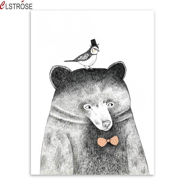 CLSTROSE Tríptico limitado sin marco nórdico para oso panda Panda - Decoración del hogar