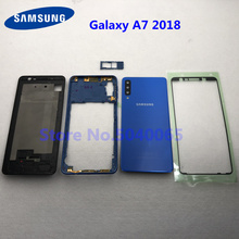 Carcasa completa para Samsung A7 2018 SM A750F A750F, marco frontal, placa, bisel, batería, cubierta trasera, funda para puerta, A7, A750
