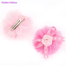 2pc/lot Kids Cute Hairpins Crystal Floral Bowknot Hair Clips Ribbons Gauze Lace Barrettes Girls Hair Styling Tools Decorations