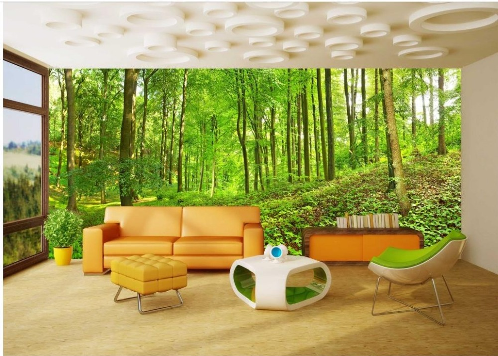 Wallpaper For Walls 3 D For Living Room Green Forest 3d