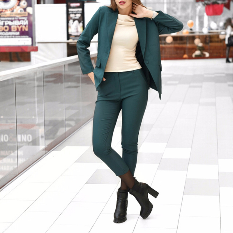 Business Women Pencil Pant Suits 2 Piece Sets Black Solid Blazer + Pencil Pant Office Lady Notched Jacket Female Outfits