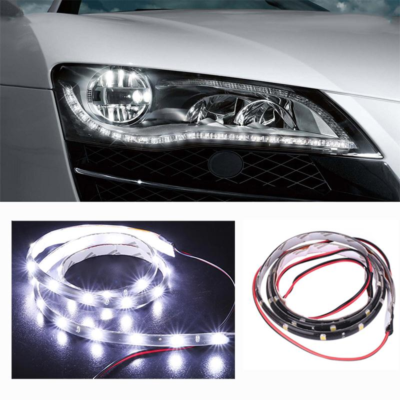 Us 1 51 15 Off Dc 12v Led Strip Light 60cm 30smd White Strips Flexible Neon Tape Car Motor Lamp Waterproof Decoration In