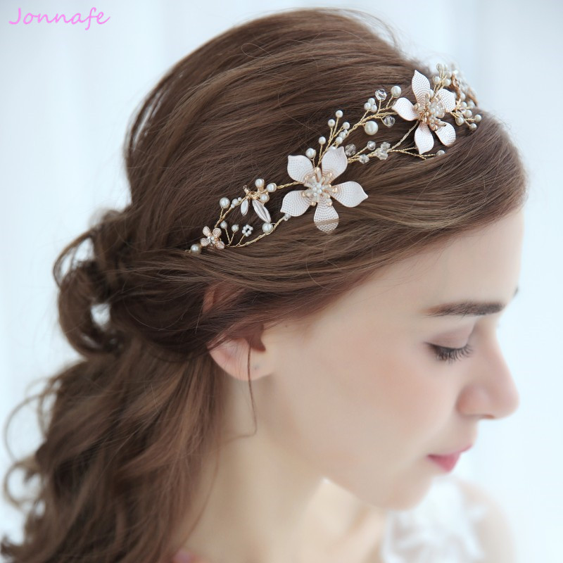 Flower Wedding Headpieces: Jonnafe Gold Flower Boho Bridal Hair Vine Headband Wedding