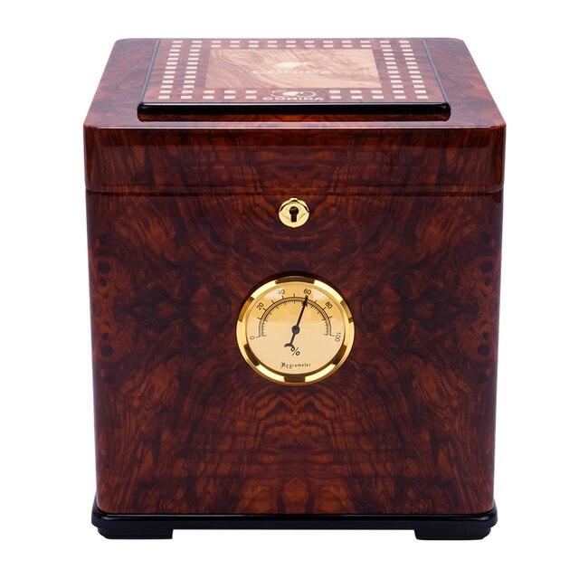 COHIBA Brown Wood Grain Gloss Finish Spanish Cedar Lined Cigar Cabinet  Humidor 80 100 Cigars